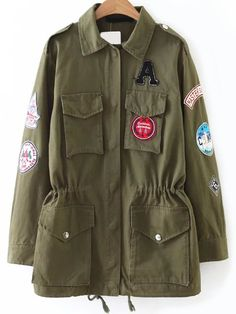 Shop Army Green Drawstring Detail Patch Coat With Pockets online. SheIn offers Army Green Drawstring Detail Patch Coat With Pockets & more to fit your fashionable needs.