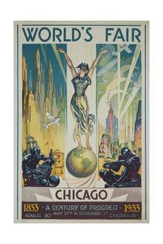 Chicago World's Fair Poster. If you don't know, read Devil in the White City: Vintage Posters, Fair Travel Posters, Vintage Travel, Art Deco Canvas Frame, Canvas Wall Art, Canvas Prints, Art Prints, Wood Canvas, Big Canvas, Black Canvas, Art Deco Posters, Poster Prints