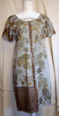 simple cotton dress.. ecoprinting...