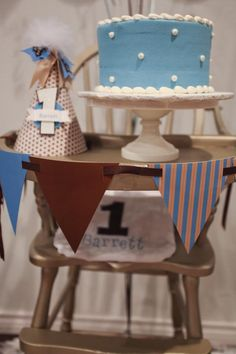 Blue and Brown Boy's 1st Birthday Party with Tons of Cute Ideas via Kara's Party Ideas KarasPartyIdeas.com #Boy #Party #Ideas #Supplies (5) | Kara's Party Ideas