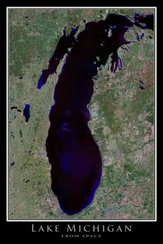This incredible cloudfree scene depicting the beautiful Lake Michigan and its vicinity was created using dozens of panchromatic-sharpened LANDSAT 7 scenes from 2000-2005. Includes Chicago, Milwaukee,