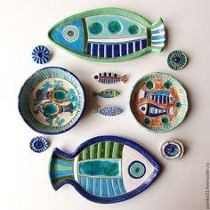 """Купить Тарелки керамические """"Рыбы"""" - комбинированный, рыбка, рыбки, рыба, рыбы, керамика ручной работы"""