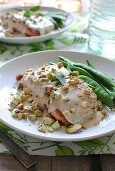 Pan-Seared Salmon with a Pistachio Mint Cream Sauce / Bev Cooks