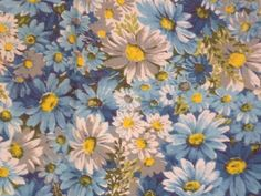 Vintage Mid Century Blue Flower Power Daisy Cotton Fabric 5+ yards
