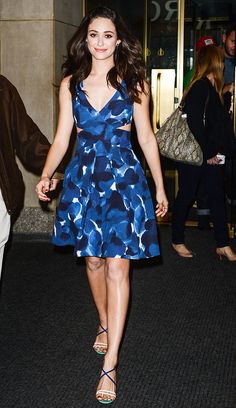This cut-out blue dress gives Emmy Rossum a daring, feminine look.