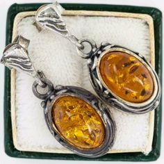 Antique-Vintage-1920-Deco-Sterling-925-Silver-Butterscotch-Amber-Womens-Earrings