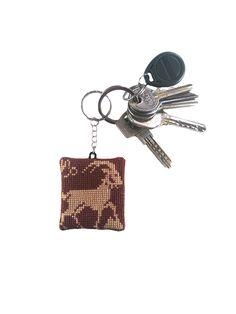Keychain, embroidery keychain, key fob zodiac, embroidery star sign, horoscope keychain, star sign keychain, astrology keychain, keychain Capricorn, cross stitch zodiac, Capricorn pendant, accessory Capricorn, keyring Capricorn, constellation keyfob,  keychain zodiac