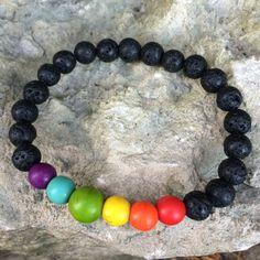 Rainbow bracelet for men / mens lava stone bracelet / by DRISAIN