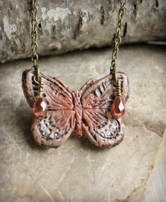 Butterfly Polymer Clay Pendant Necklace