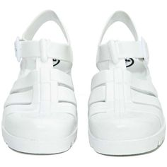 JuJu Baby Jelly Sandal ($47) ❤ liked on Polyvore featuring shoes, sandals, white jelly sandals, juju, cutout sandals, stacked heel shoes and white shoes