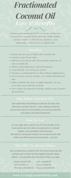 "Fractionated Coconut Oil Uses and Benefits Infographic http://www.lovingessentialoils.com/blogs/essential-oil-tips/109291910-what-is-fractionated-coconut-oil Learn why you need to be using FCO to dilute your essential oils, also find out ""hot oils"" you need to always dilute before use."