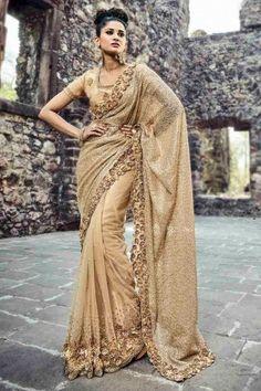 Buy Latest Designer Newarrival Beige Net Saree With Blouse - DMV15613 for women online  #Designersaree #newarrival #beigenetsaree #partywear #womenfashion #shoppingonline