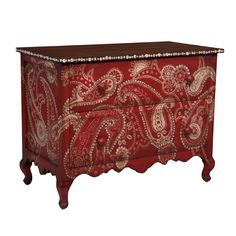 hand-painted paisley artwork on the sides and drawer fronts Paisley Shell Button Chest -red finish
