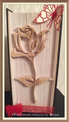 Rose Cut and Fold Book Folding Pattern by JHBookFoldPatterns on Etsy