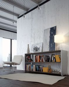 Casual White Lounge Library Design