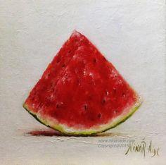 Watermelon Slice Original Oil Painting by Nina R.Aide Studio. Canvas 6x6 #still life#watermelon#slice#kitchen#art#small#painting