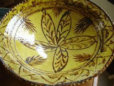 """FRENCH SLIPWARE DISH  A large and beautiful dish measuring 16"""" in diameter and 5"""" high."""