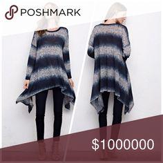 Heather/denim color tunic! Stunning hemline and length! Available upon return💕 Tops Tunics