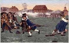 """""""The Fight on Lexington Common"""" captures a moment from the first military engagement of the American Revolutionary War. On April 19, 1775, American soldiers fire at British Redcoats in Lexington, Mass.(Stock Montage/Getty Images)"""