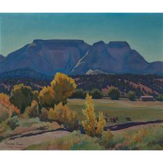Maynard Dixon (American, 'Bright Morning' 1944 Oil on board , 20 x 24 (in). Signed and Dated Maynard Dixon. Watercolor Landscape, Landscape Art, Landscape Paintings, Fall Paintings, Watercolor Trees, Maynard Dixon, Southwestern Art, Fantasy Places, Autumn Painting