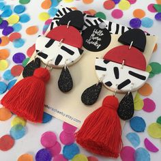 Red and Monochrome Fiesta Dangles