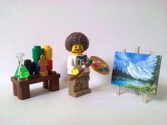 LEGO Minifigures Bob Ross TV Artist #lego #legominfigure #bobross #artist #TVartist #legoart #painting #legopainting #toy #toys