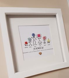 STICK FAMILY BUTTON FRAME Handmade & Personalised Family Figure Button Frame. AVAILABLE WITH: White or wooden or black frame. QUOTES: - Our Family (wooden writing) - Family is not an important thing, its everything - Remember as far as anyone knows.. we are a nice normal family - Its not how big the house is, its how happy the house is *or any other quote you would like* SIZE: Frame - 8 x 8 When ordering please place the names you would like in the notes section ie: Mum- Sandy, Dad- Ma... Button Frames, Button Art, Box Frame Art, Box Frames, Scrabble Frame, Scrabble Tiles, Frame Crafts, Craft Frames, Anniversary Wishes Quotes