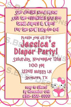 Diaper Party Invitations Made This One For My Sister She Loves Hello Kitty