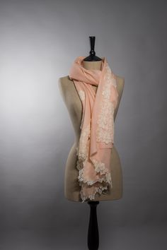 Pastel shades of cashmere with delicate Chantilly lace from www.deqidesigns.com
