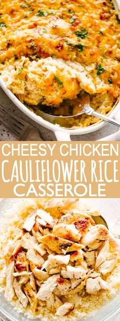 Easy, oven baked Chicken Cauliflower Rice Casserole with a cheesy, creamy sauce mixed through it all, is a simple dinner recipe cooked in just one pan. This awesome low-carb casserole packs a lot of flavor in a very filling, classic dinner that everyone loves! #lowcarbrecipes #ketorecipes #cauliflowerrice #casserole #chickenandricecasserole