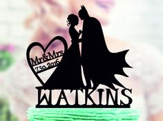 Batman Cake Topper, Batman Wedding Cake Topper, Batman Silhouette Cake Topper , Mr and Mrs Topper, Cake Topper With Date, Super Hero Topper  Hello.  Thank you for visiting my shop - TopperForWedding We make personalized Toppers for Wedding Cakes. We can produce unique Topper for you or for a gift to a Friends Wedding, Birthday, and other anniversaries.  ⇝⇝⇝ Wedding Topper ⇜⇜⇜ ► Toppers All that we have made to order!!! ► Materials - acrylic or wood (1/8 the thickness of the material from...