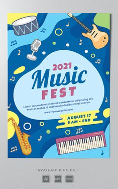 Music Festival Poster Template AI, EPS Poster Templates, Music Fest, Festival Posters, Lorem Ipsum, Pop Tarts
