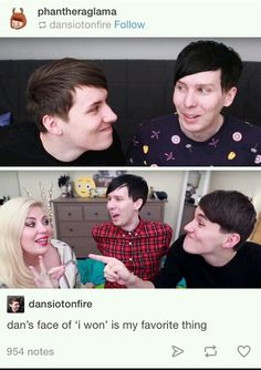 In the top picture Phil looks slightly terrified that dan is going to kiss him