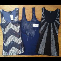 Express embellished tanks /NWT Beautiful embellished Express tanks.. new with tags. Extra small and can fit a small also! 3 for $50 or $20 a piece! OFFERS ACCEPTED!   CAN also go cheaper on Merc! ( XYVYBQ ) enter my invite code and you can get a few dollars off your purchase as well Express Tops Tank Tops