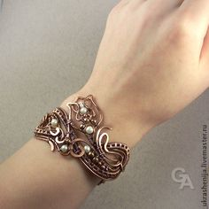 "Gorgeous work. All of it.  Handmade bracelets.  Fair Masters - handmade Bracelet ""Pimpernel"" of copper with pearls.  Handmade."