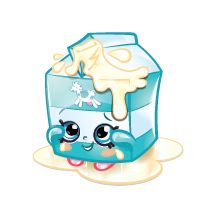 Spilt Milk is a blue and white milk carton with white milk flowing out the top. She is a rare Dairy Shopkin from Season One.