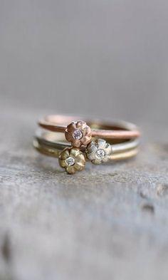 Nangijala Jewelry: cute floral stacking rings