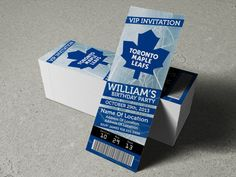 "Toronto Maple Leafs Birthday Party/Event Ticket Invitation (2.5"" x 7"") - 3 Options on Etsy, $9.00 CAD"