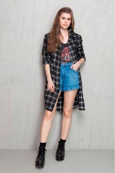 Camisa Xadrez Dress To Long Line Chess - BabadoTop