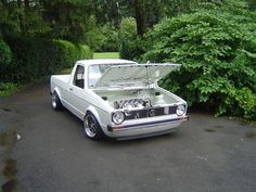 mk1 vw caddy - white, shaved bay Vw Mk1, Volkswagen Caddy, Volkswagen Golf, Vw Rabbit Pickup, Vw Pickup, My Dream Car, Dream Cars, Vw Caddy 1, Drift Truck