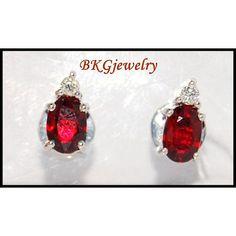 http://rubies.work/0653-ruby-rings/ Diamond Stud Gemstone Jewelry 18K White Gold Ruby by BKGjewels
