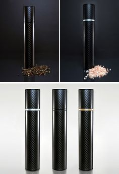 Essential Kitchen Tools - Salt And Pepper Mills | A carbon fiber body creates a minimal design while heavy duty ceramic and aluminum component create a long lasting and efficient mill.