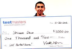 TestMasters Student Shivam Dave Scores Perfect 2400 on SAT