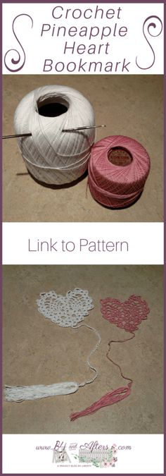 Crochet Projects, Sewing Projects, Heart Bookmark, Pineapple Crochet, Crochet Bookmarks, Diy And Crafts Sewing, Heart Patterns, Book Crafts, Free Crochet