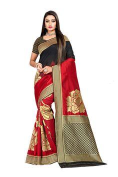 Red Woven Banarasi Silk Saree With Blouse Bollywood Saree, Indian Bollywood, Banarasi Sarees, Silk Sarees, Black Indians, Buy Sarees Online, Online Collections, Saree Styles, Saree Blouse Designs