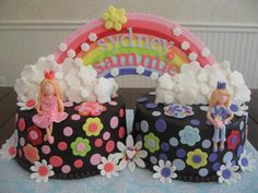 Rainbow Birthday cake for twins or 2 people having birthdays close