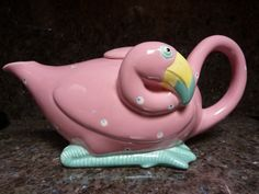 Vintage Whimsical Pink Flamingo Teapot Fitz and Floyd 1985
