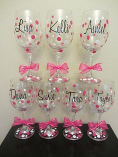 10 Personalized wine glasses great for the by dotteddesigns4brides, $100.00