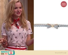 Liv's Eiffel polka dot bow belt on Liv and Maddie.  Outfit Details: http://wornontv.net/39105/ #LivandMaddie