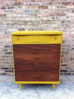Mid Century Dresser In Mustard Yellow. $299.00, via Etsy. -- I just died over this.